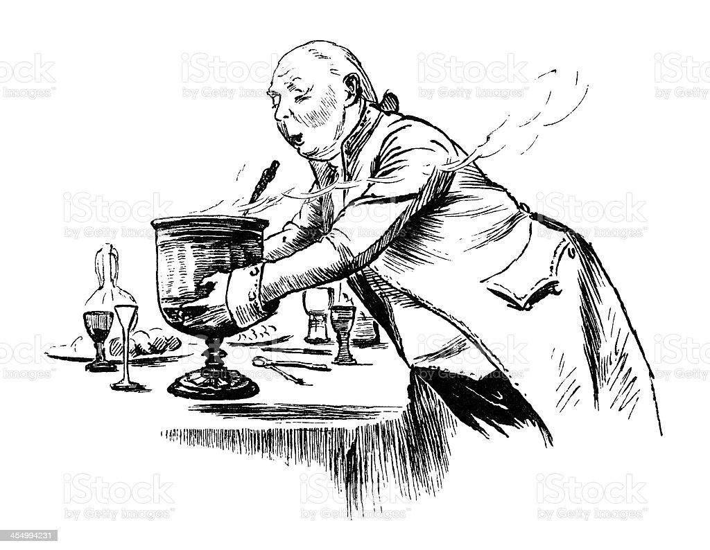 Footman carrying a steaming Wassail Bowl vector art illustration