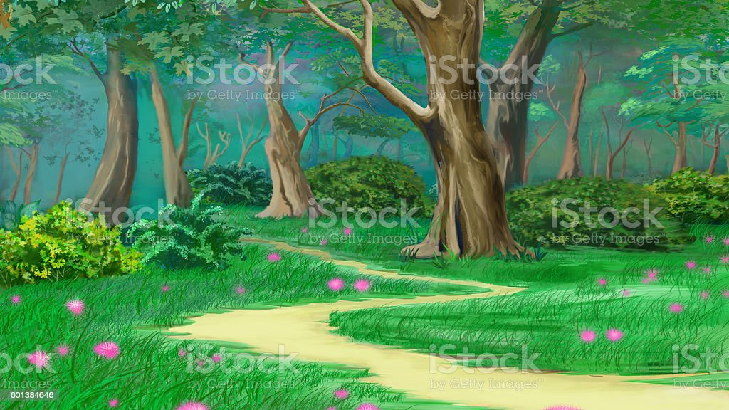 Footpath in a Fairy Tale Green Summer Forest vector art illustration