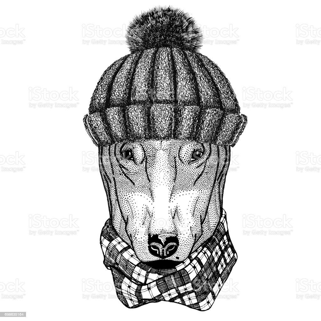 DOG for t-shirt design wearing winter knitted hat vector art illustration
