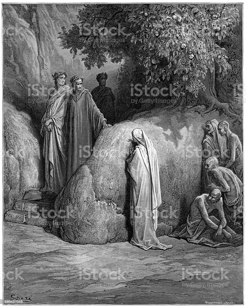 Forese Donati Dante Purgatory 1870 vector art illustration
