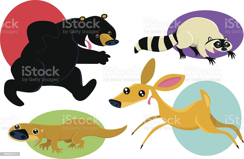 Forest Animals in Action vector art illustration