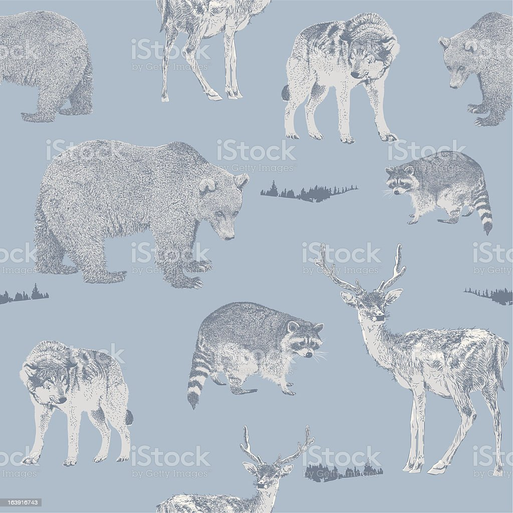 Forest Animals Repeat Pattern royalty-free stock vector art