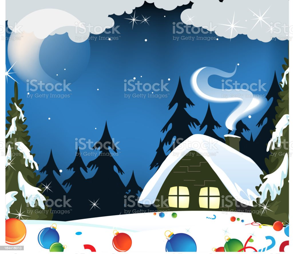 Forest hut and Christmas decorations royalty-free stock vector art