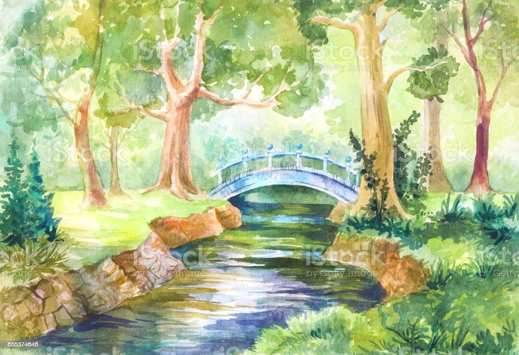 Forest landscape in watercolor. A bridge across the river. vector art illustration