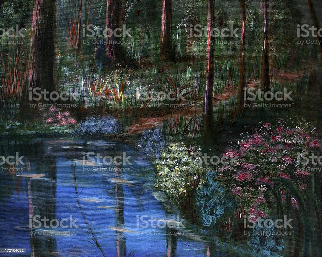 Forest pond royalty-free stock vector art