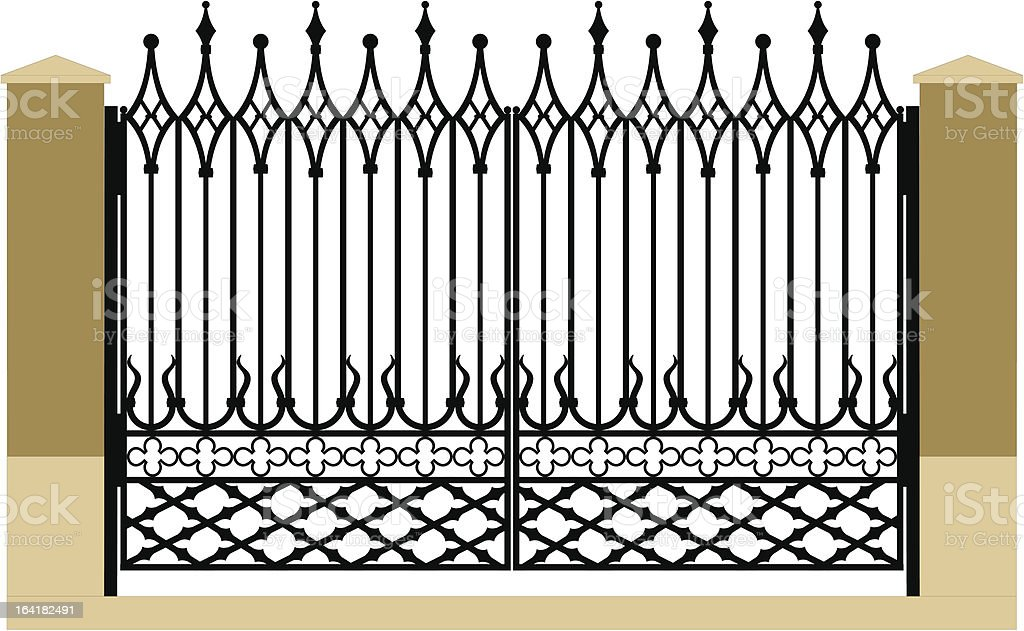 forged iron gothic gate royalty-free stock vector art