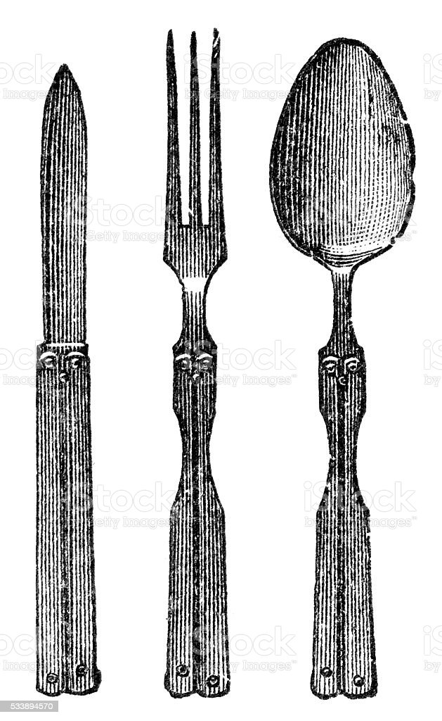 fork and knife vector art illustration