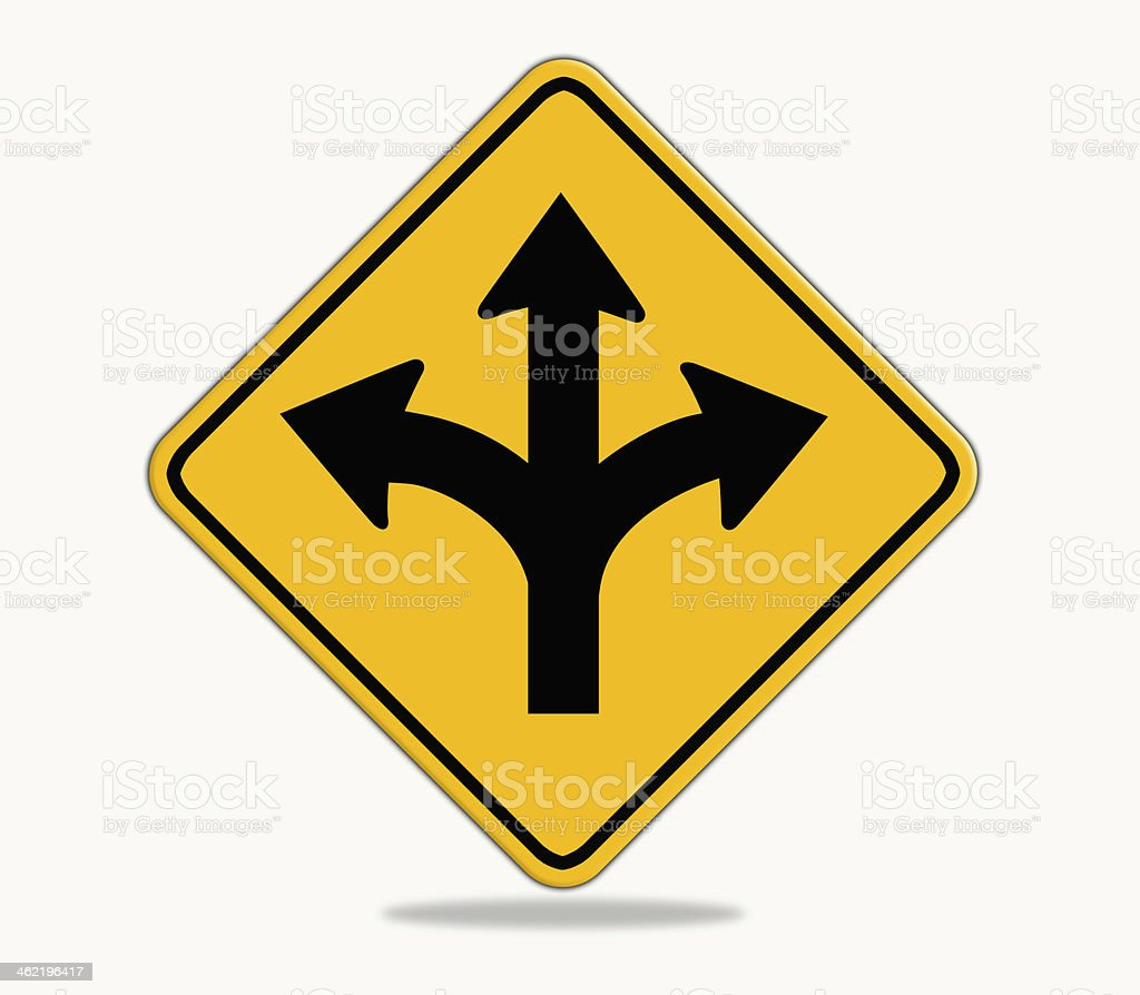 Forked road yellow warning sign. vector art illustration