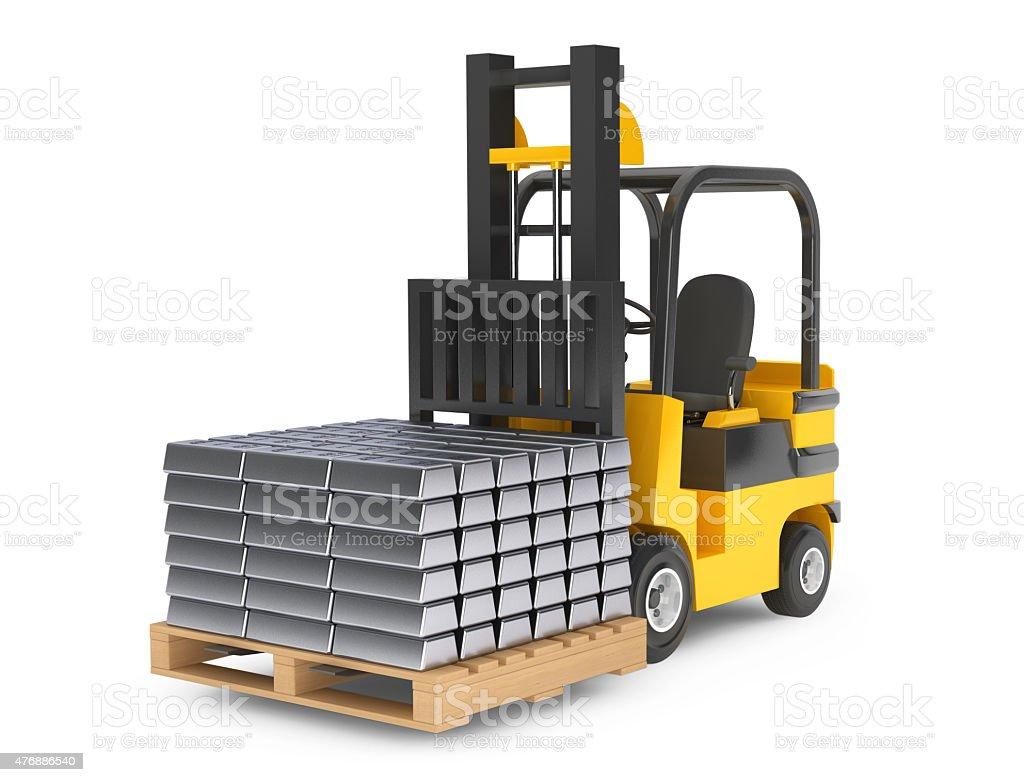 Forklift Truck moves Silver Bars vector art illustration