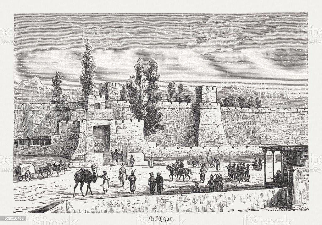 Fort at Kashgar, Turkestan, wood enhgraving, published in 1882 vector art illustration
