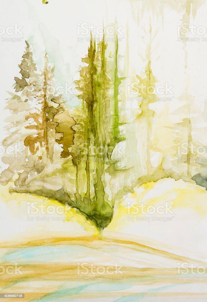 Forêt de conifères vector art illustration