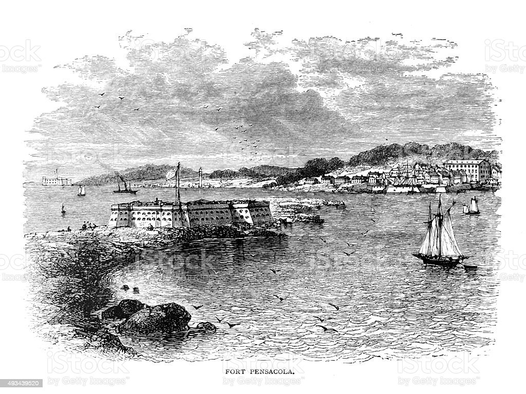 Fort Pensacola vector art illustration