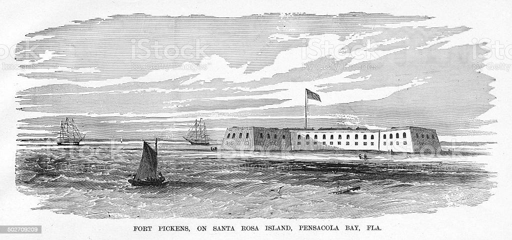 Fort Pickens Engraving vector art illustration