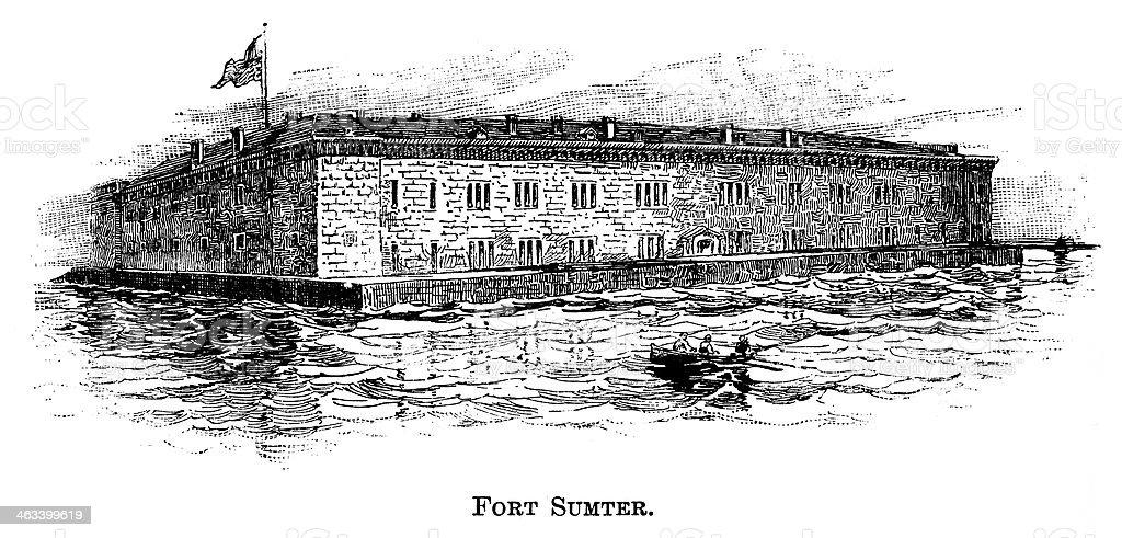 Fort Sumter - Antique Engraving vector art illustration