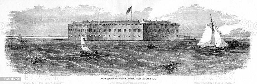 Fort Sumter, Charleston, SC vector art illustration
