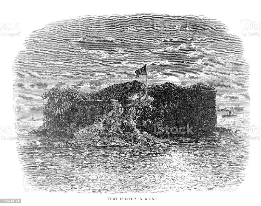 Fort Sumter in ruins vector art illustration