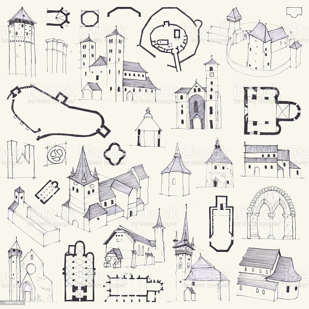Fortified churches. Hand drawing of plans, elevations, perspectives and details vector art illustration