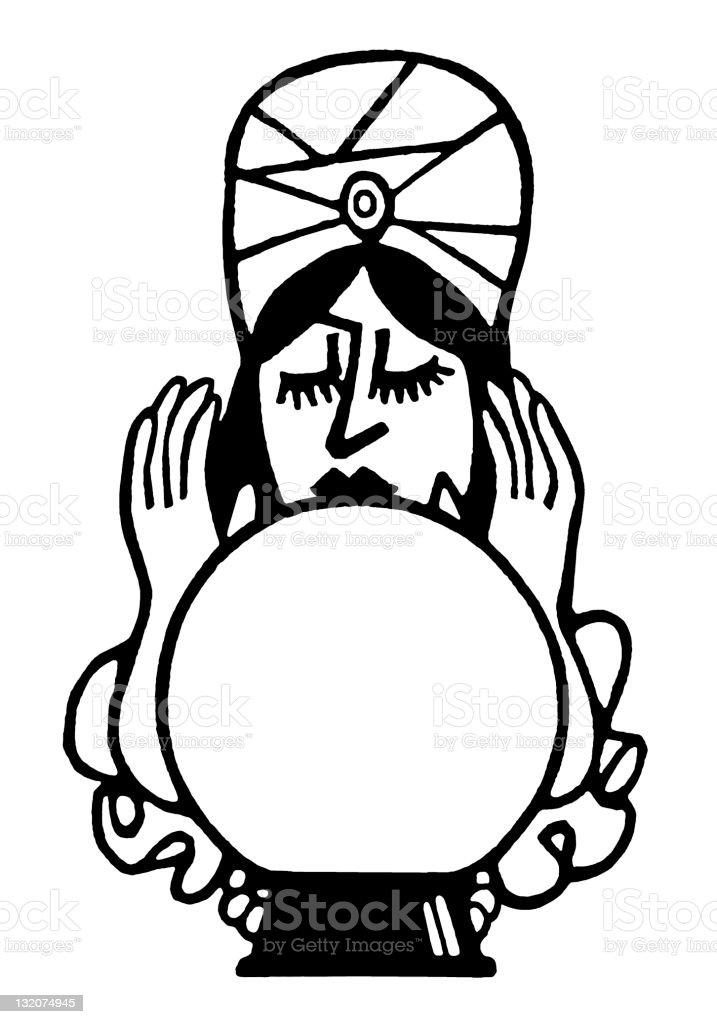 Fortune Teller and Crystal Ball vector art illustration
