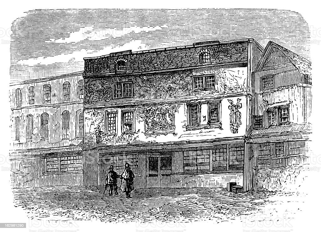 Fortune Theatre - Antique Engraving royalty-free stock vector art