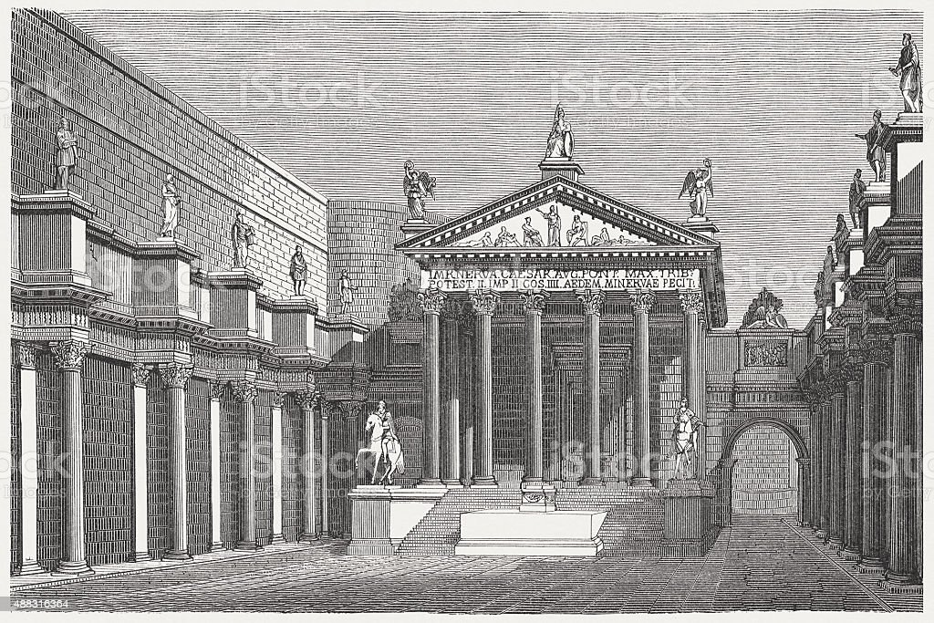 Forum of Nerva in ancient Rome, published in 1878 vector art illustration