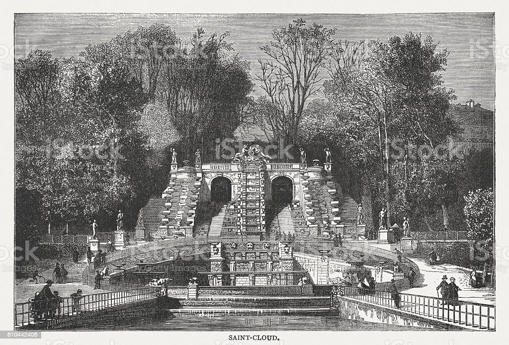 Fountain at Saint-Cloud, Paris, France, wood engraving, published in 1877 vector art illustration