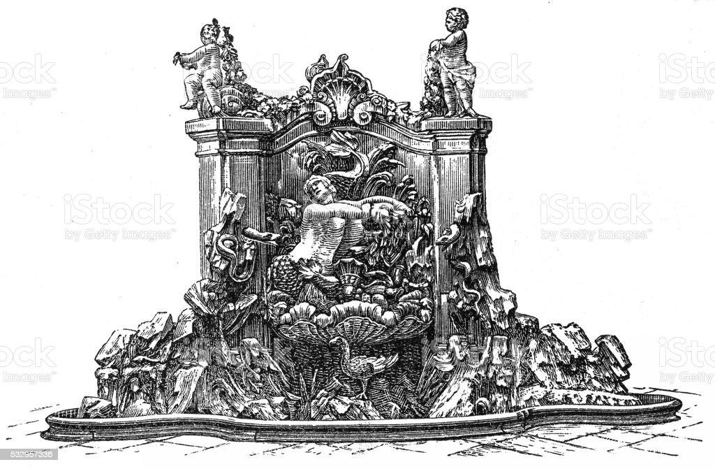 Fountain in Prinzenpalais , Dresden vector art illustration