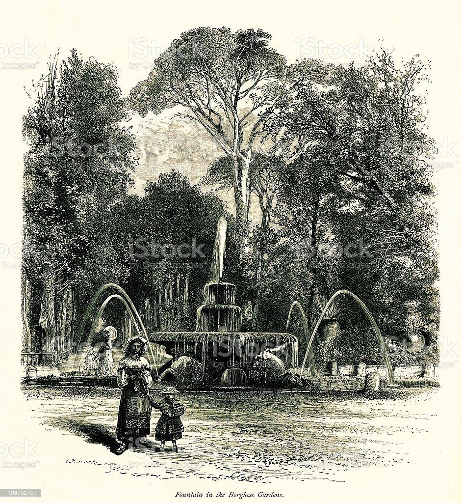 Fountain in the Villa Borghese gardens, Rome, Italy, wood engraving royalty-free stock vector art
