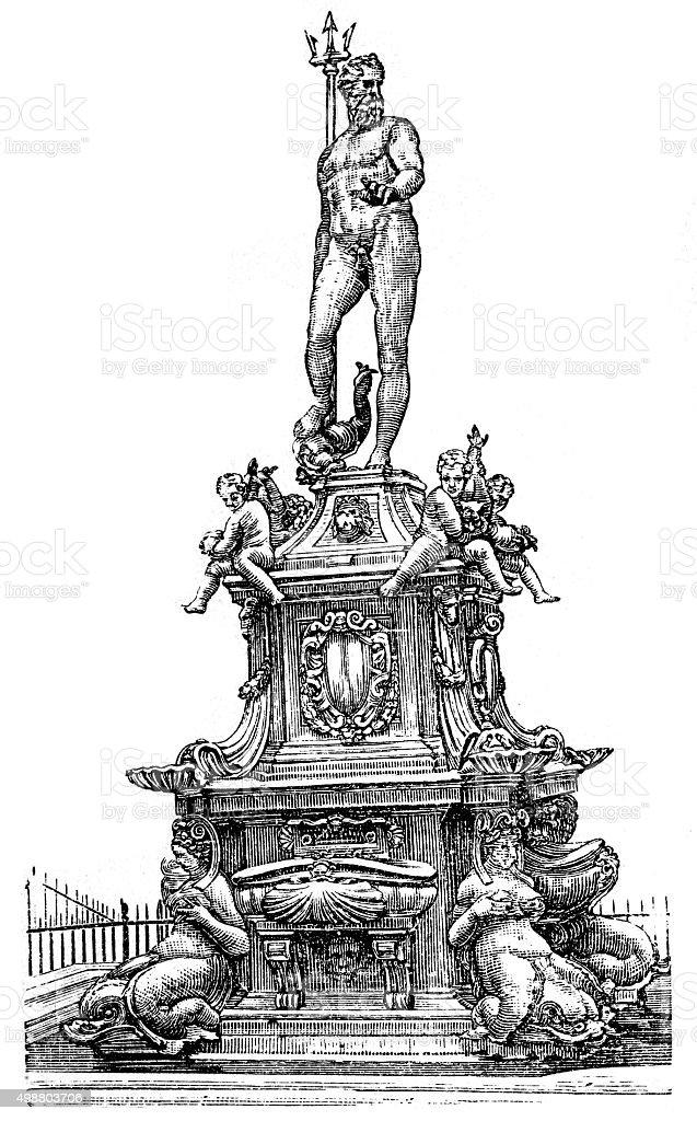 Fountain of Neptune, Bologna, Italy vector art illustration