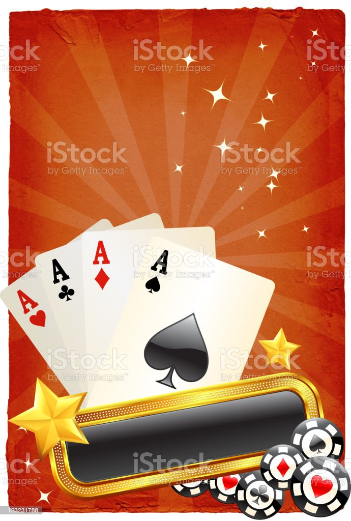 four aces on old paper Background royalty-free stock vector art