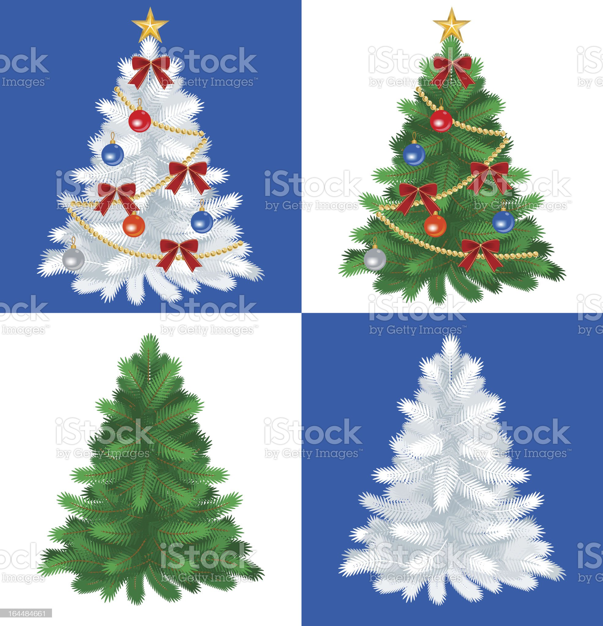 Four Christmas tree ,Green and White royalty-free stock vector art