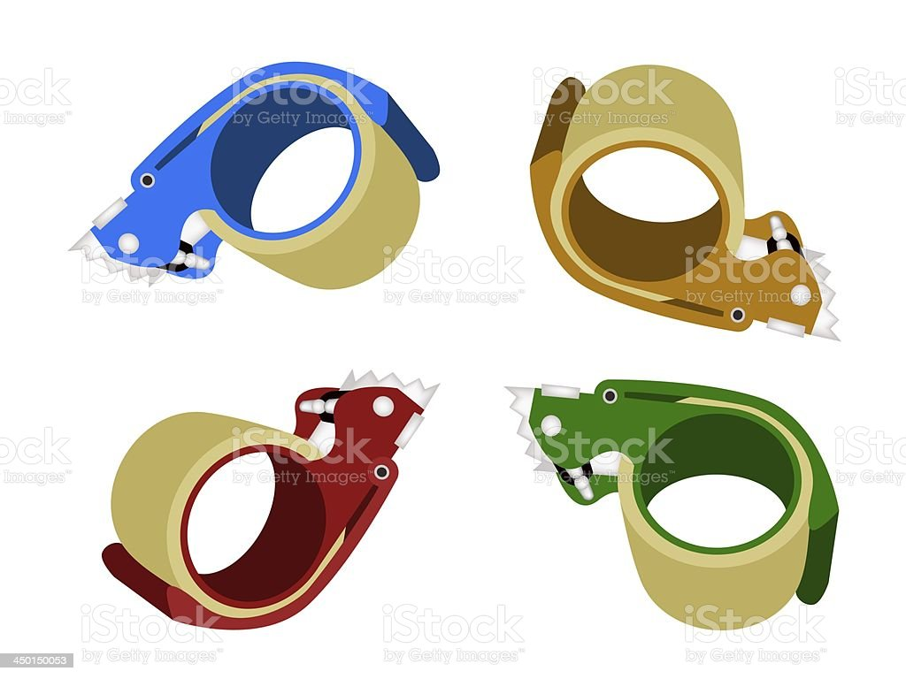 Four Colors of Adhesive Tape Dispenser on White Background vector art illustration