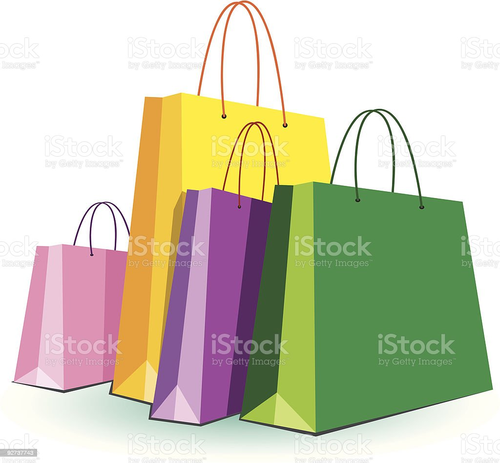 Four colourful shopping bags royalty-free stock vector art