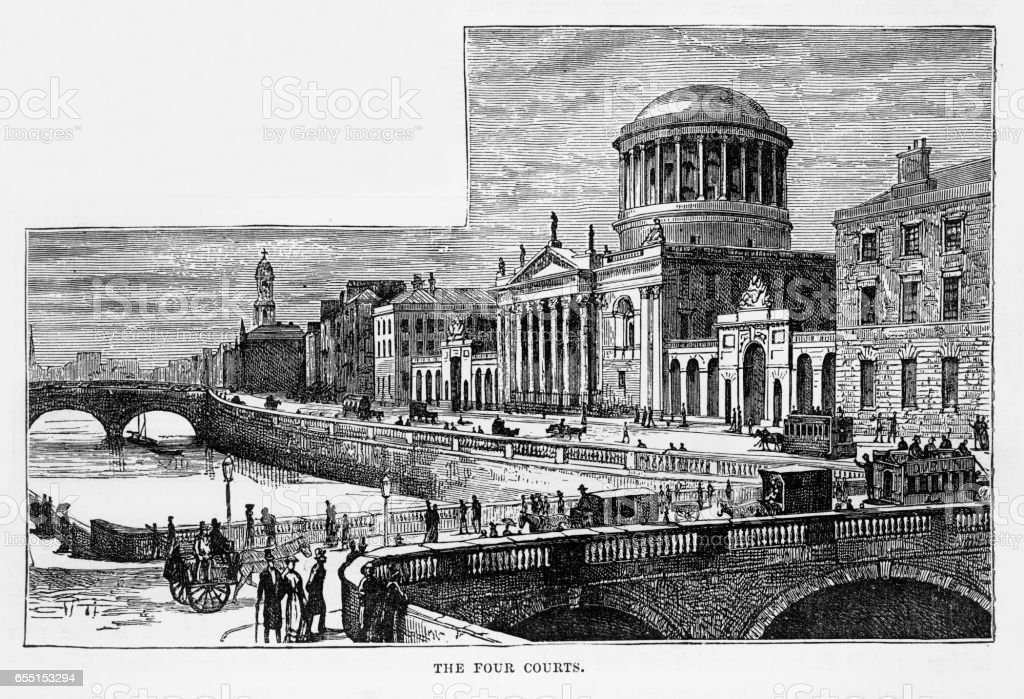 Four Courts in Dublin, Ireland Victorian Engraving, 1840 vector art illustration