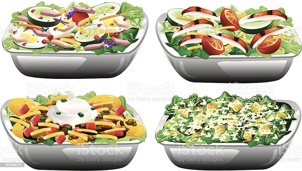 Four different salads royalty-free stock vector art
