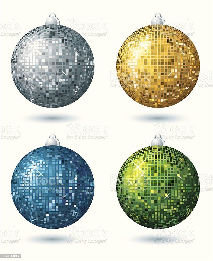 four  disco balls vector art illustration