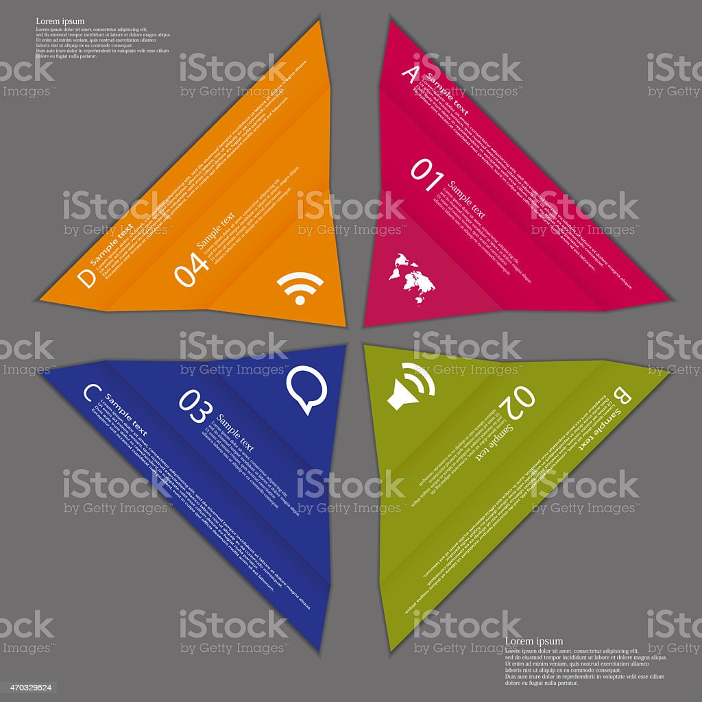 Four folded paper pieced on dark background stock photo