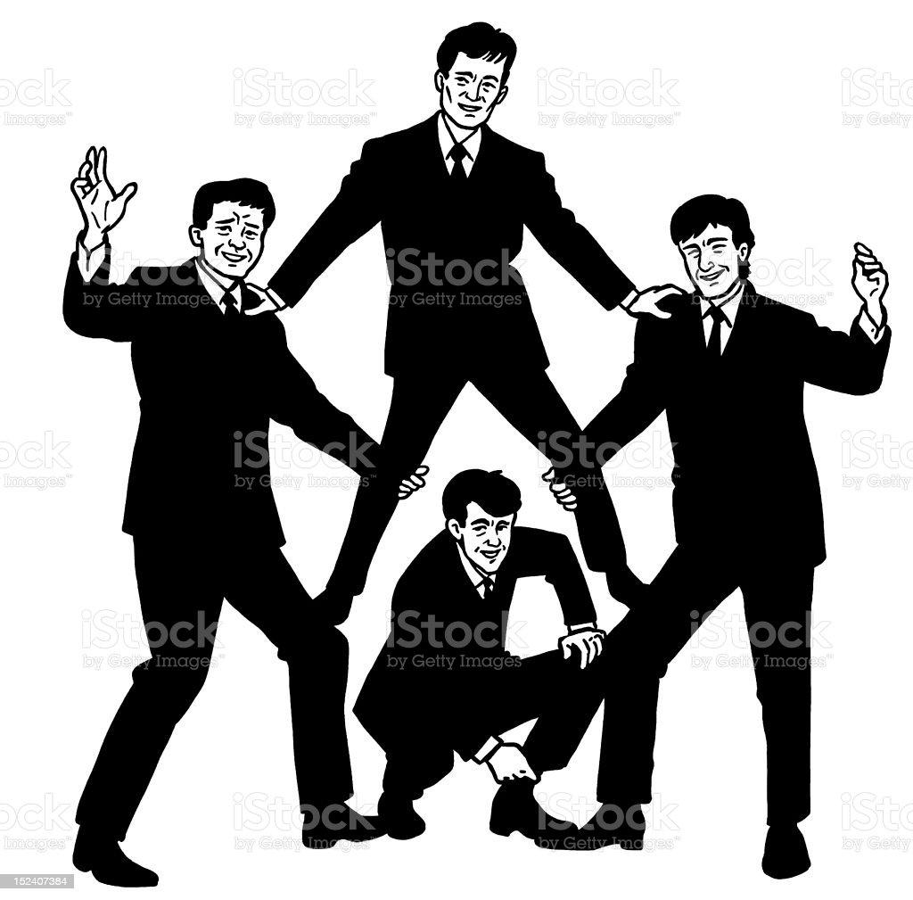 Four Guys Posing royalty-free stock vector art