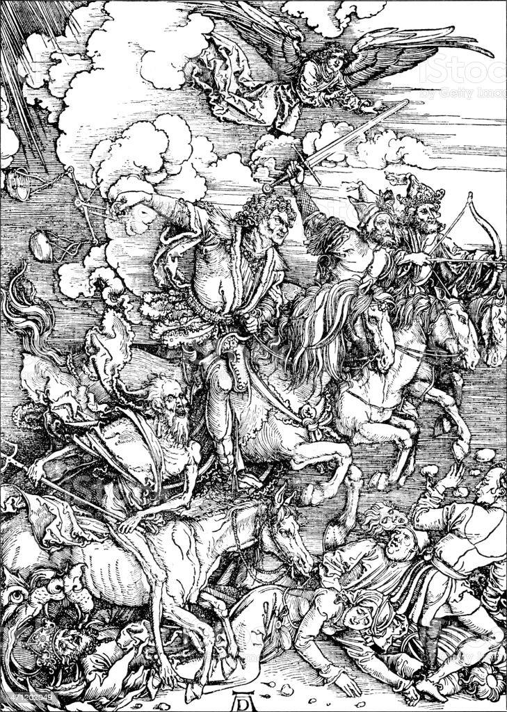 Four Horsemen of his Apocalypse royalty-free stock vector art