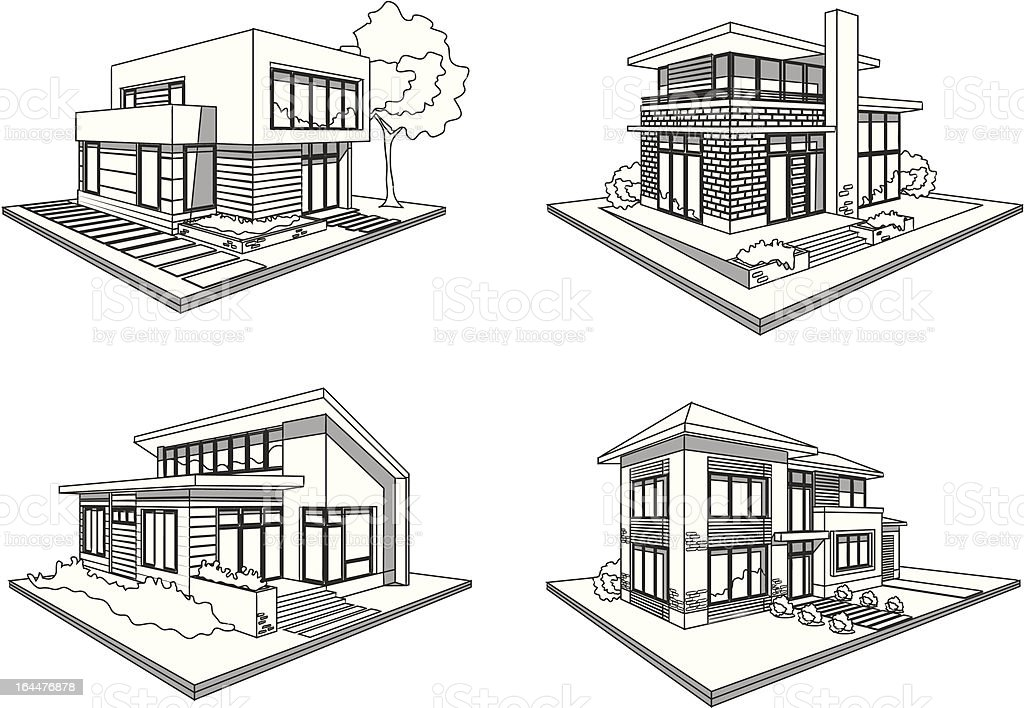 four houses modern mansions sketch icons vector art illustration