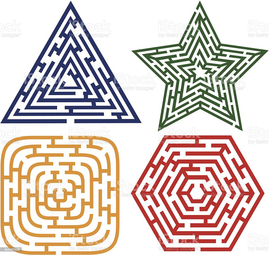 four labyrinth royalty-free stock vector art