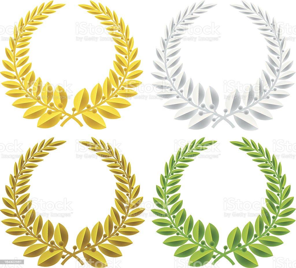 four laurel wreaths vector art illustration