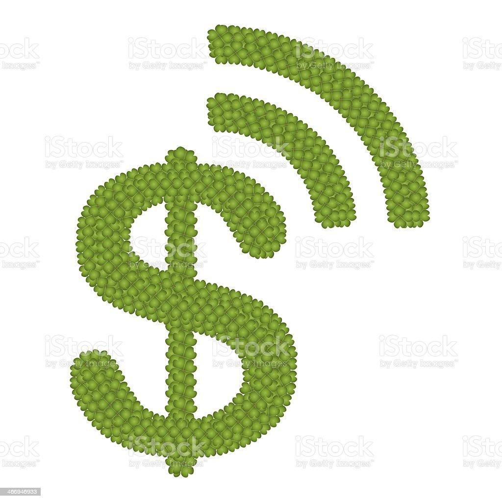 Four Leaf Clover of Dollar Symbol vector art illustration