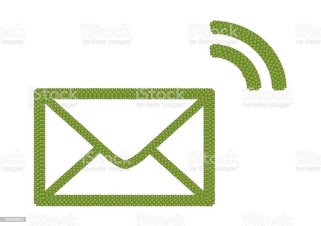 Four Leaf Clover of Envelope Icon vector art illustration