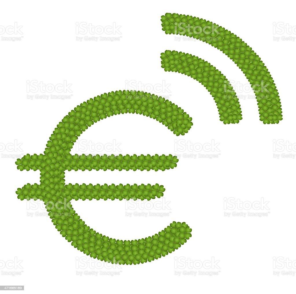 Four Leaf Clover of Euro Symbol vector art illustration