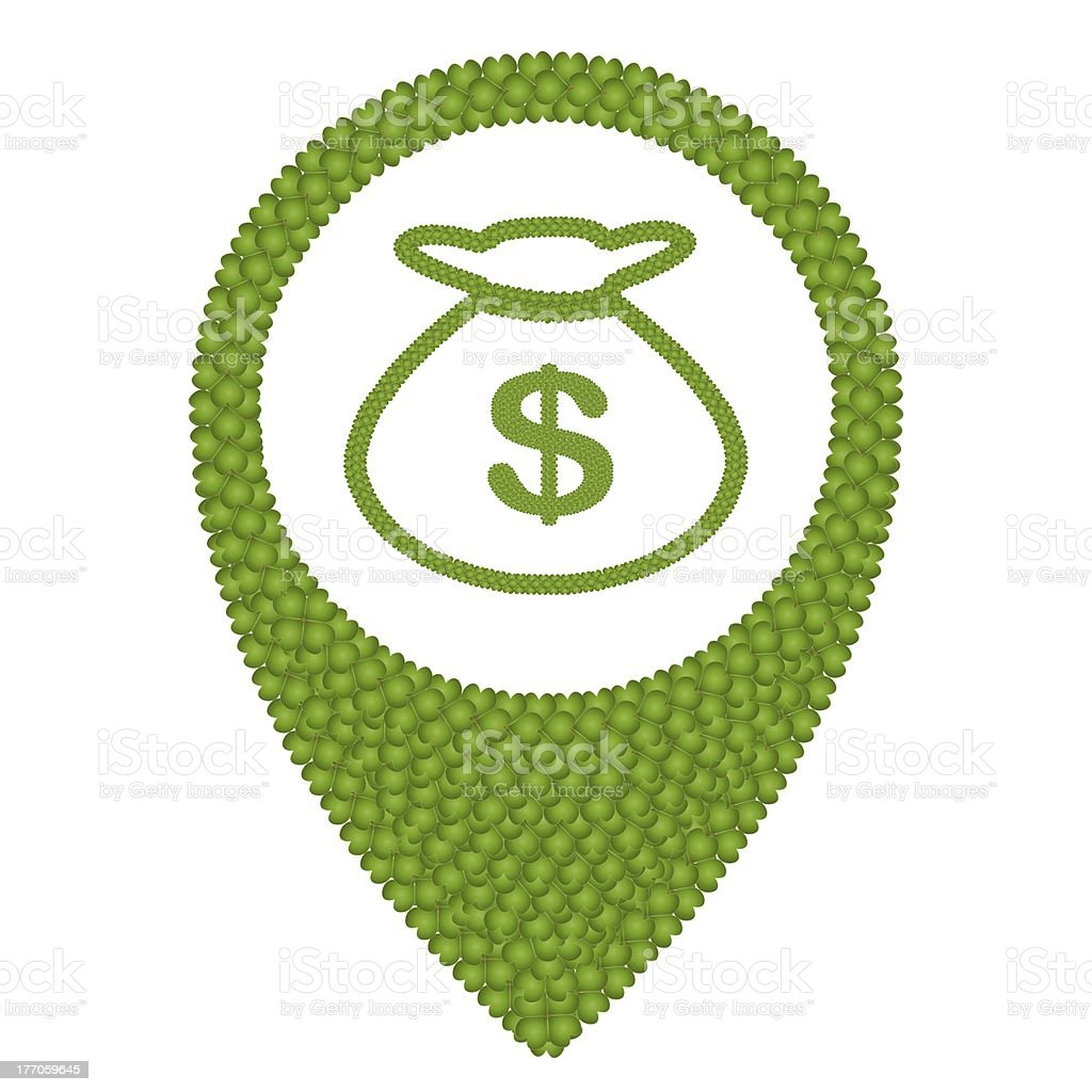 Four Leaf Clover of Money Bag and Navication Icon royalty-free stock vector art