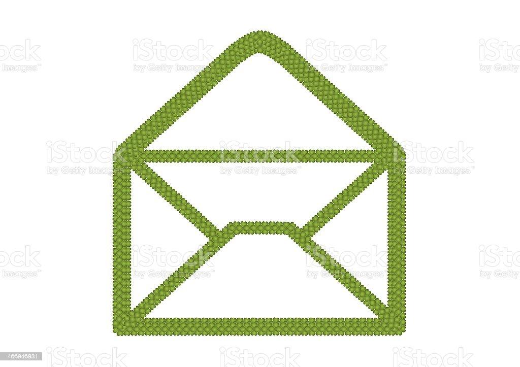 Four Leaf Clover of Open Envelope Icon vector art illustration