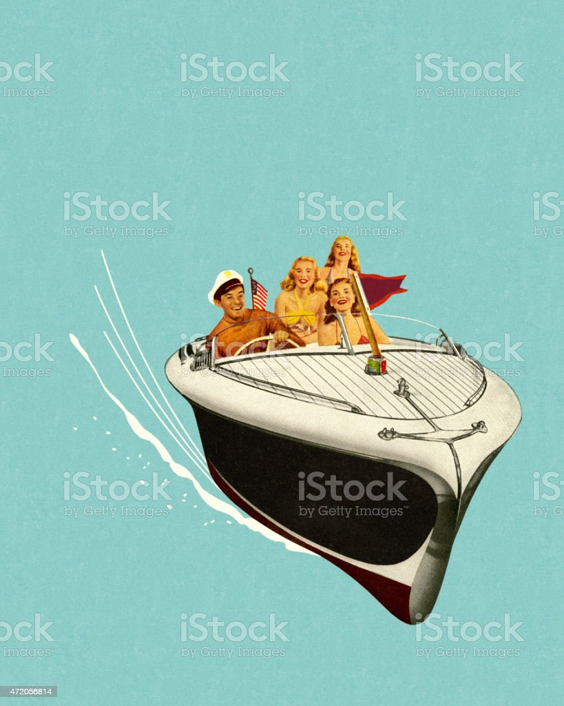 Four People in a Speedboat vector art illustration
