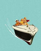 Four People in a Speedboat