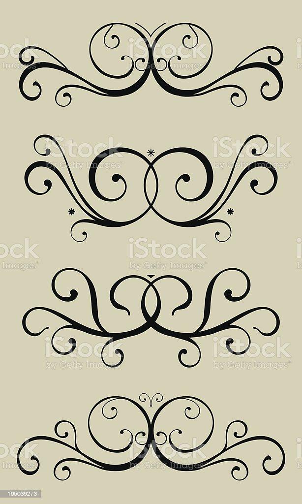 Four Scrolls royalty-free stock vector art
