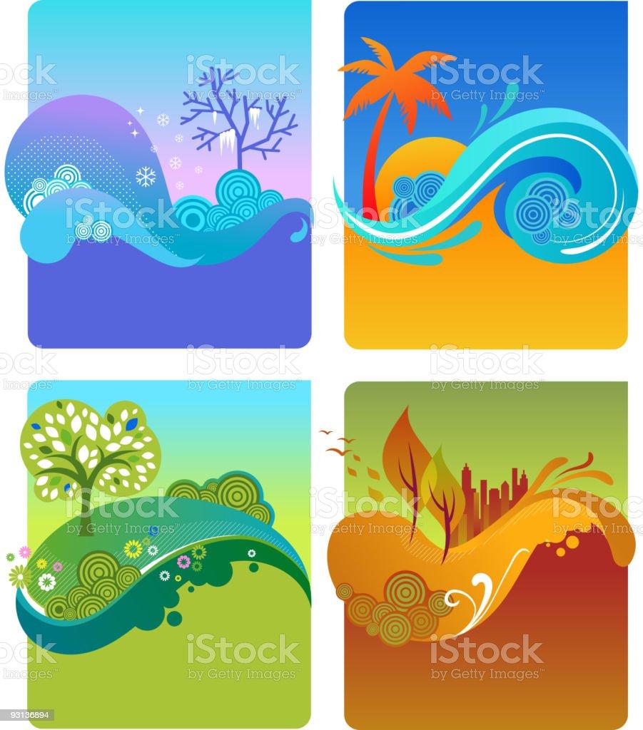 four season - autumn, fall, spring, summer royalty-free stock vector art